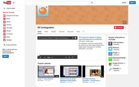 Screenshot of YouTube Page youtube.com - IOI iointegration  - YouTube - captured Oct. 23, 2014