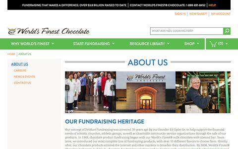 Screenshot of About Page worldsfinestchocolate.com - World's Finest Chocolate Fundraising |  About Us - captured Nov. 19, 2016