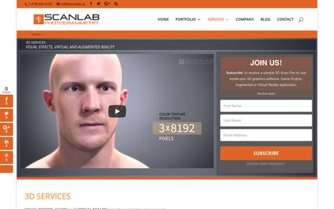 Screenshot of Services Page scanlab.ca - 3D Services in Vancouver: 3D Scanning, Modeling, Digital People, Product - captured Oct. 5, 2017