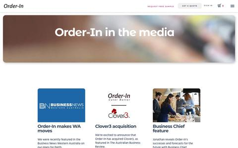 Screenshot of Press Page orderin.com.au - In The Media | Order-In Corporate Catering - captured Sept. 10, 2019