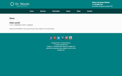 Screenshot of Press Page drwoodshearing.com - News - Dr Woods Hearing Center - captured Oct. 13, 2017