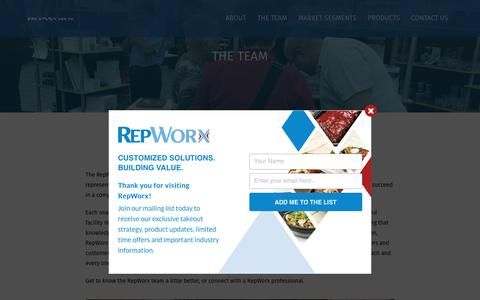 Screenshot of Team Page repworx.com - The Team | Foodservice Sales Experts | Jan San Sales Experts | RepWorx - captured Oct. 20, 2018