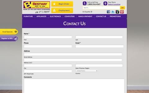 Screenshot of Contact Page bestwayrto.com - Contact Us - Bestway Rent-to-Own - captured Oct. 5, 2014