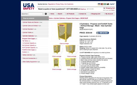 Screenshot of Landing Page usasafety.com - Gas Cylinder Cage, 2 Propane Tanks, Vertical Storage, CBCW130JP - USASafety.com - captured Oct. 27, 2014