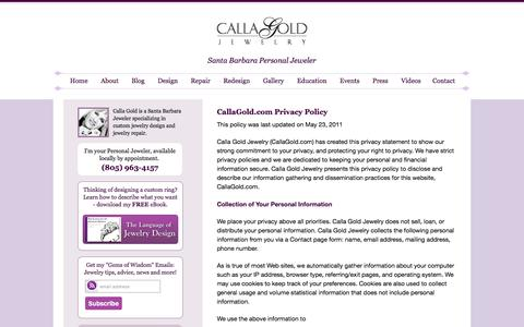 Screenshot of Privacy Page callagold.com - Calla Gold Jewelry Privacy Policy - captured Aug. 25, 2016