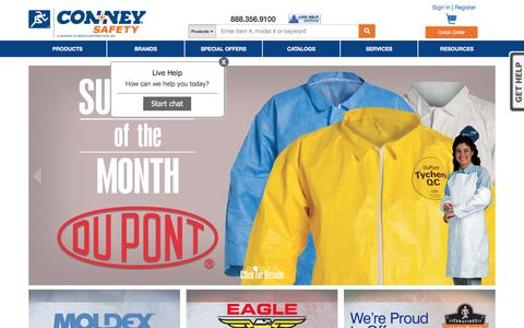 Screenshot of Home Page conney.com - Conney Safety - Safety Products, Personal Protective Safety Equipment, First Aid Supplies, OSHA Compliance - captured Nov. 10, 2016