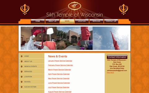 Screenshot of Press Page sikhtempleofwisconsin.com - News & Events - captured May 14, 2016