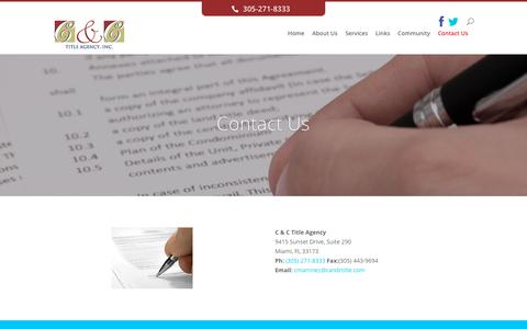 Screenshot of Contact Page candctitle.com - Contact Us | C&C - captured Oct. 11, 2017
