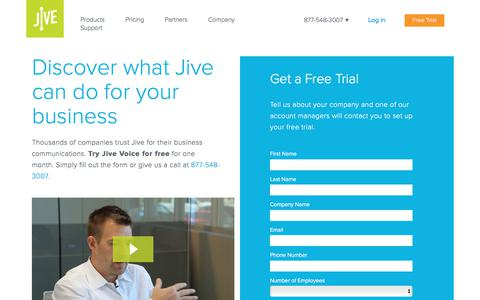 Screenshot of Trial Page jive.com - Discover what Jive can do for your business - Jive Communications - captured Aug. 5, 2017