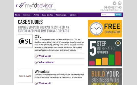 Screenshot of Case Studies Page myfdadvisor.co.uk - Help with Management Accounts | Finance Support | myfdadvisor - captured Oct. 6, 2014