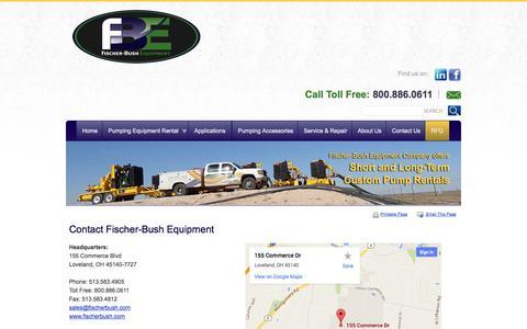 Screenshot of Contact Page fischerbushequipment.com - Contact Fischer-Bush Equipment - Loveland, Ohio - captured Oct. 6, 2014