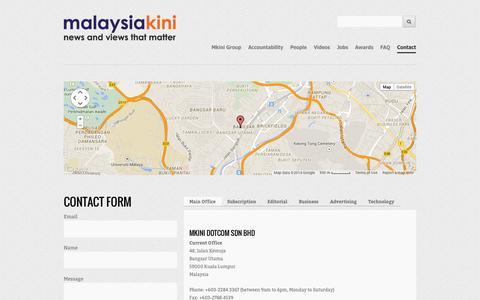 Screenshot of Contact Page malaysiakini.com - Contact | About Malaysiakini - captured Oct. 29, 2014