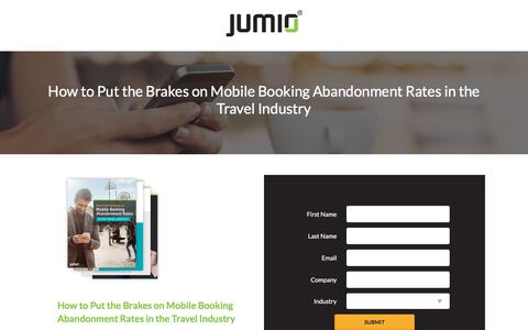 Screenshot of Landing Page jumio.com - How to Put the Brakes on Mobile Booking Abandonment Rates in the Travel Industry - captured May 29, 2018