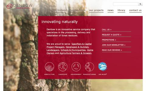 Screenshot of Home Page denbow.com - Denbow. | Innovating Naturally. - captured Sept. 30, 2014