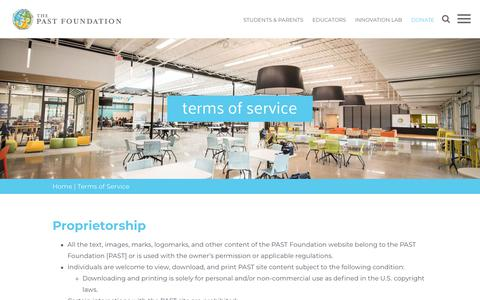 Screenshot of Terms Page pastfoundation.org - Terms of Service | PAST Foundation - captured July 14, 2018