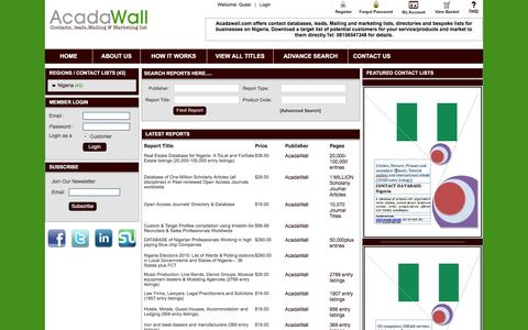 Screenshot of Home Page acadawall.com - Acadawall | Contact databases, leads, mailing and marketing list | Home Page - captured Feb. 5, 2016
