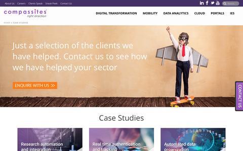 Screenshot of Case Studies Page compassitesinc.com - Client Success Stories | Case Studies | Compassites - captured Nov. 9, 2016