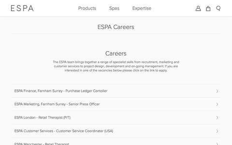 Screenshot of Jobs Page espaskincare.com - Careers  | ESPA - captured March 30, 2017