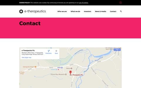 Screenshot of Contact Page etherapeutics.co.uk - Contact - captured Sept. 19, 2017