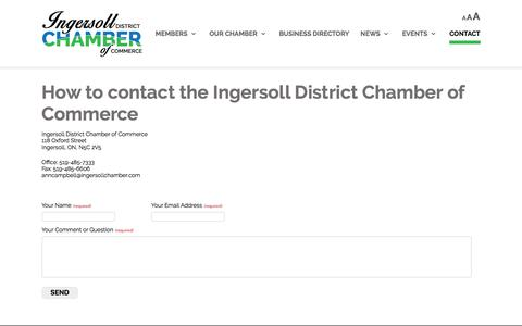 Screenshot of Contact Page ingersollchamber.com - Ingersoll Chamber of Commerce |   	Contact Ingersoll Chamber of Commerce, Ingersoll Chamber location, contact details IDCC - captured Oct. 15, 2017