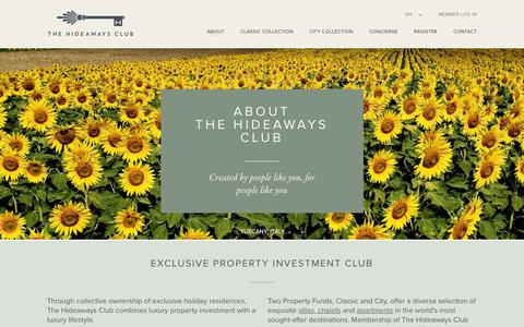 Screenshot of About Page thehideawaysclub.com - Award Winning Property Investment Club I About Us - captured Feb. 25, 2016