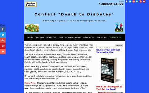 "Screenshot of Contact Page deathtodiabetes.com - Contact ""Death to Diabetes"" Office - captured Oct. 12, 2017"