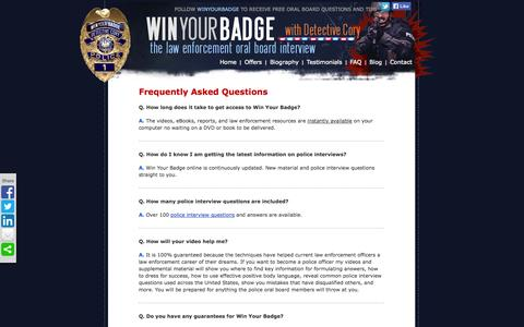 Screenshot of FAQ Page winyourbadge.com - FAQ - captured Oct. 2, 2014