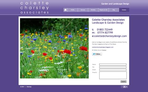 Screenshot of Contact Page charsleydesign.com - Colette Charsley Associates > Contact Information - captured Oct. 22, 2014