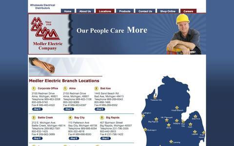 Screenshot of Locations Page medlerelectric.com - Medler Electric - Michigan Distributors - Locations - captured Feb. 4, 2016