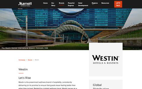 Screenshot of Developers Page marriott.com - Westin - Marriott Hotels Development - captured Oct. 30, 2018