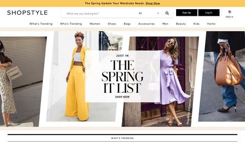 Screenshot of Home Page shopstyle.com - ShopStyle: Search and find the latest in fashion - captured Feb. 15, 2019