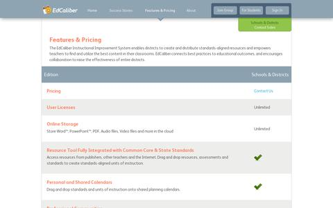 Screenshot of Pricing Page edcaliber.com - Curriculum Management System Features   EdCaliber - captured July 19, 2014