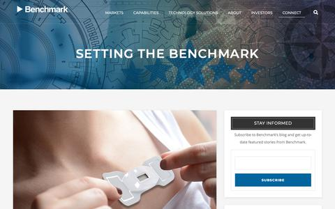 Screenshot of Blog bench.com - Setting the Benchmark | Blog | Benchmark Electronics - captured March 12, 2019