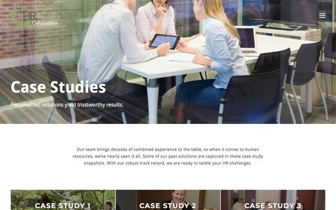 Screenshot of Case Studies Page hrcollaborative.net - Case Studies - captured July 15, 2018