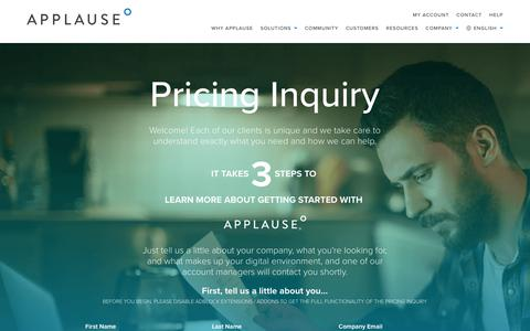 Pricing Inquiry | Applause