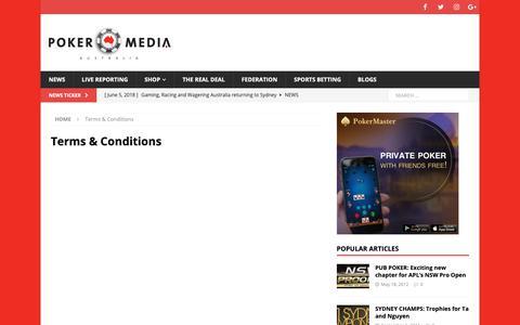 Screenshot of Terms Page pokermedia.com.au - Terms & Conditions – Poker Media - captured Sept. 28, 2018