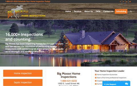 Screenshot of Home Page bigmoosehomeinspections.com - Big Moose Home Inspections | Home Inspectors | Bessemer, MI - captured Nov. 22, 2016