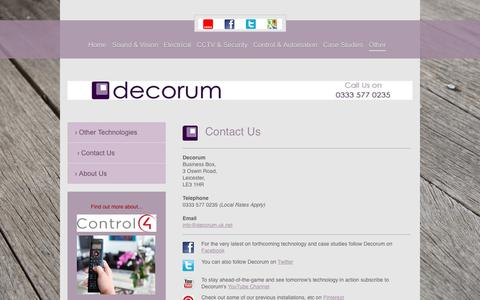 Screenshot of Contact Page decorum-technology.co.uk - Audio Visual Installers   Leicestershire, Lancashire & Cambridgeshire   Decorum Technology   Contact Us - captured June 4, 2017