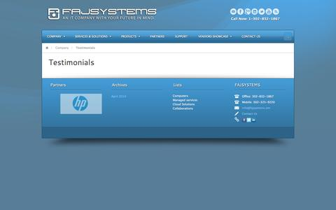 Screenshot of Testimonials Page fajsystems.com - Testimonials - FAJSYSTEMS - captured Oct. 27, 2014
