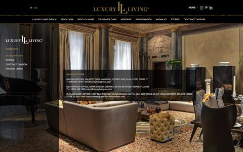 Screenshot of Contact Page luxurylivinggroup.com - Luxury Living Group, arredi di design made in Italy: contatti - captured Sept. 19, 2014
