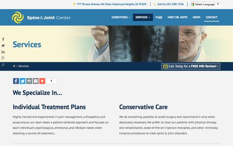 Screenshot of Services Page spineandjointcenter.com - Back & Joint Pain Treatments and Services | Spine & Joint Center NY NJ - captured Dec. 1, 2016