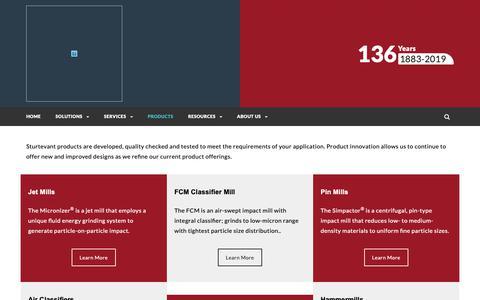 Screenshot of Products Page sturtevantinc.com - Products – Sturtevant Inc. - captured March 23, 2019