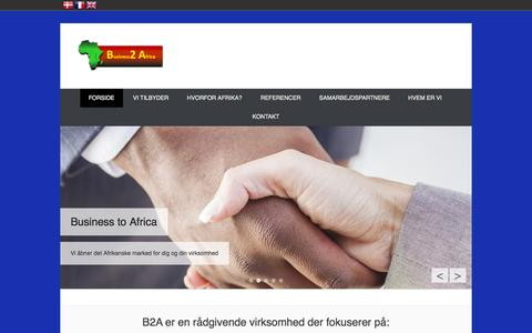 Screenshot of Home Page Menu Page b2a.dk - B2A advisory services focus on: » - captured Oct. 3, 2014