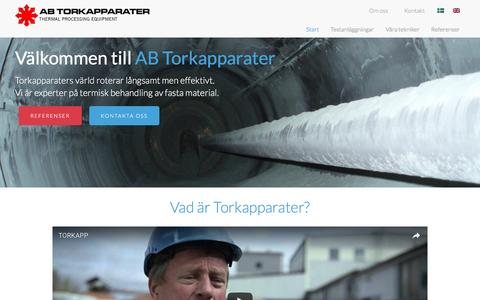 Screenshot of Home Page torkapparater.se - Industriell termisk processutrustning – AB Torkapparater - captured Nov. 19, 2016
