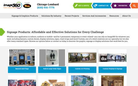 Screenshot of Products Page image360.com - Products - Image360 Signs Chicago-Lombard - Banners, Graphics, Vehicle Wraps and Displays - captured Sept. 21, 2018