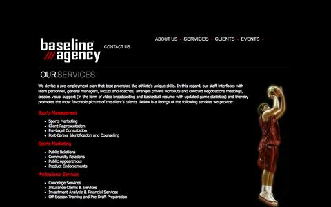 Screenshot of Services Page baselineagency.com - Services - captured Nov. 3, 2014