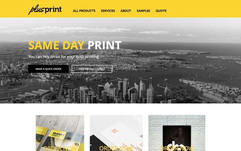 Screenshot of Home Page plusprint.com.au - PlusPrint | Rush Printing in Sydney - captured July 19, 2018