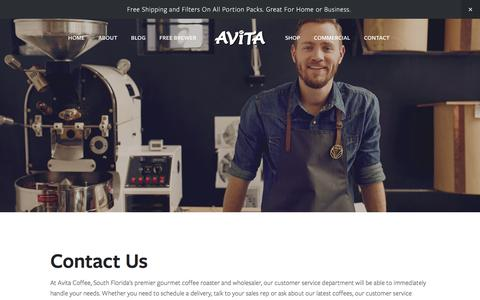 Screenshot of Contact Page avitacoffee.com - Contact — Avita Coffee - captured Oct. 9, 2017