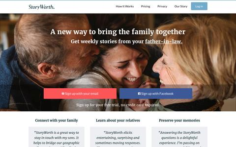 Screenshot of Home Page storyworth.com - A new way to bring the family together – StoryWorth - captured March 15, 2016