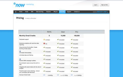 Screenshot of Pricing Page nowmarketing.co.uk - E-marketing Prices | Now Marketing - captured Oct. 6, 2014